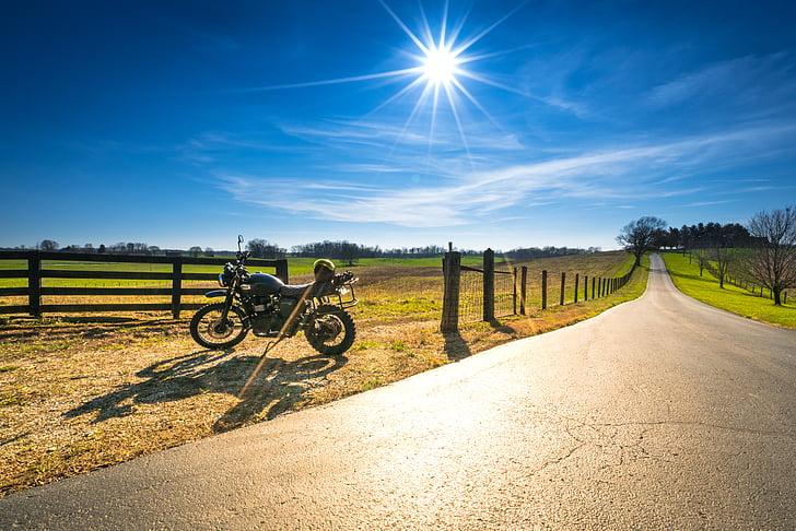 Motocykl, triumf, scramblera, ADV, przygoda, drogi, światło słoneczne