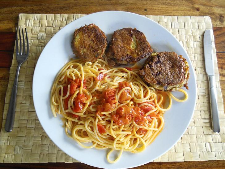 fideus, albergínia, menjar, deliciós, verdures, cuinar, Frisch