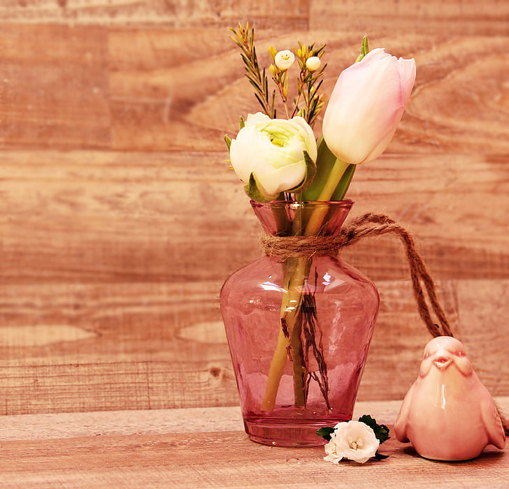 tulpes, Ranunculus, putns, vāze, ziedi, ziedu vāze, pavasara ziedi