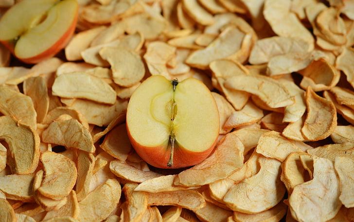 Apple, kuivatatud õunad, kuivatatud puuviljad, kuivatatud, õuna viilud, puu, ketas