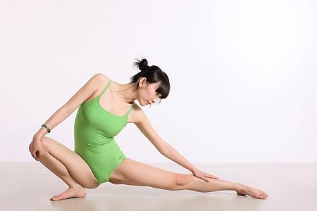 中国, ヨガ, ダンス, 重み, 女性, 姿勢