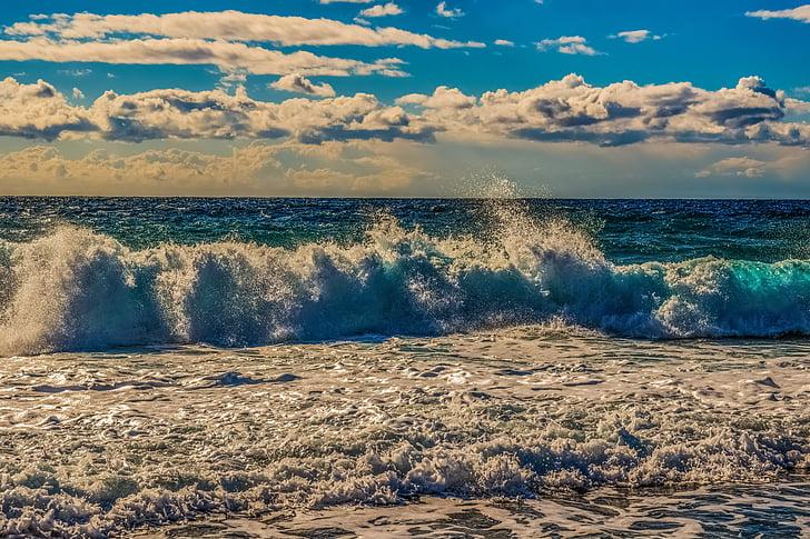 hullám, hab, spray, tenger, víz, természet, Beach