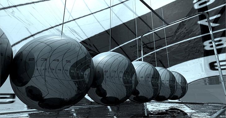 High-tech, kov, chrom, koule, grafika, model, 3D