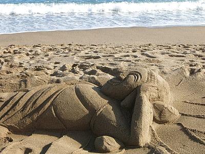 sand, beach, sculpture, art, wave, sandburg, sand sculpture