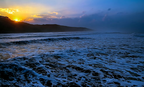 coucher de soleil, océan, mer, eau, Dim, nature, Sky