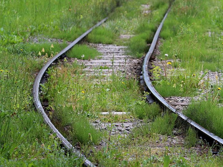 트랙, 전기 기차, 금속, 오래 된 기차 트랙, 기차, 사용 되지 않음, 잡 초
