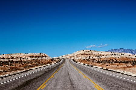 poušť, cesta, obloha, cestování