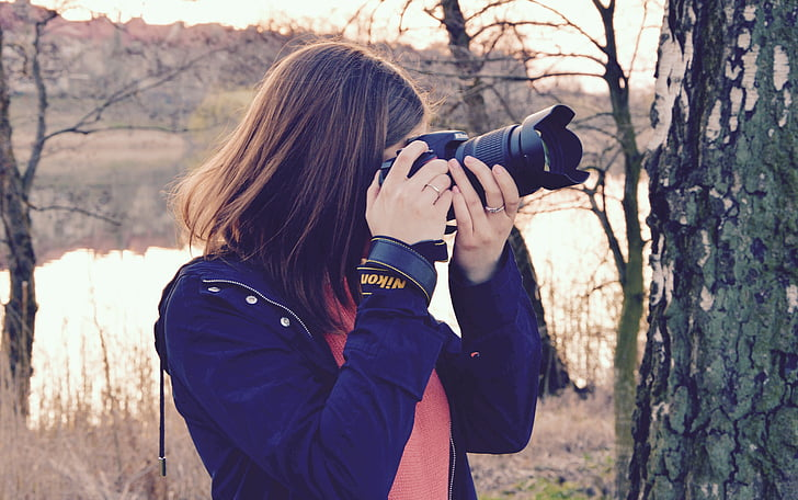 photographer, woman, camera, photographing, photography, lens, equipment