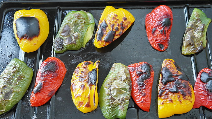paprika, paprika, köögiviljad, toidu, köögiviljad, punane, roheline, kollane