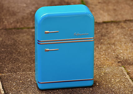 külmik, kasti, cookie jar, sinine, ladustamine, konservikarp, leht