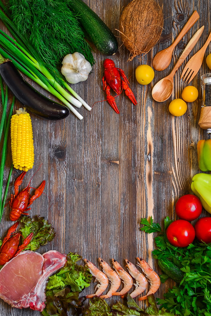 jedlo, produkty, rustikálne, zelenina, mäso, varenie, zdravé stravovanie