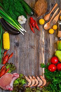 jedzenie, produkty, rustykalne, warzywa, mięso, Gotowanie, zdrowe odżywianie
