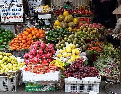 Vietnam, Pazar, meyve, Etal, egzotik, Gıda, Satış