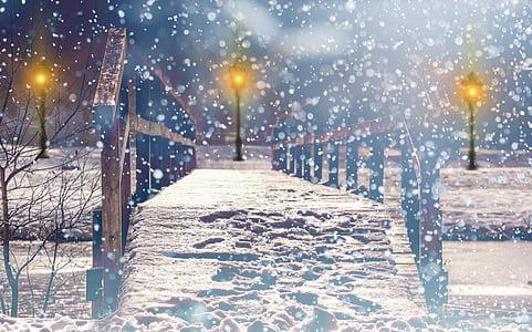 tuyết, tuyết rơi, đèn lồng, đèn chiếu sáng, ánh sáng, Giáng sinh, tâm trạng