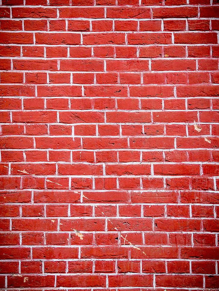 vermell, paret, maons, forats, esquerdes, Maó, fons