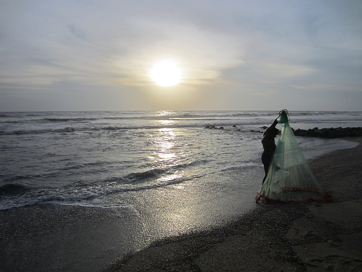 fisherman, landscape, sea, sky, sunset, water