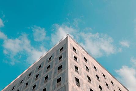 arhitektuur, hoone, infrastruktuuri, sinine, taevas, mätas, Apartement