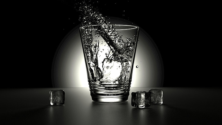 renderēšanas, stikls, ūdens, melna