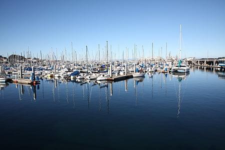 havet, blå himmel, lugnt hav, Ocean, båt, kryssning, vatten
