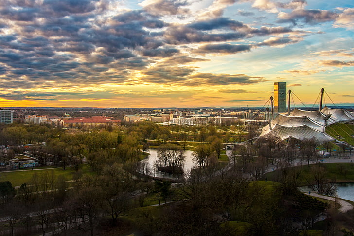buildings, city, cityscape, dawn, dusk, sky, sunrise