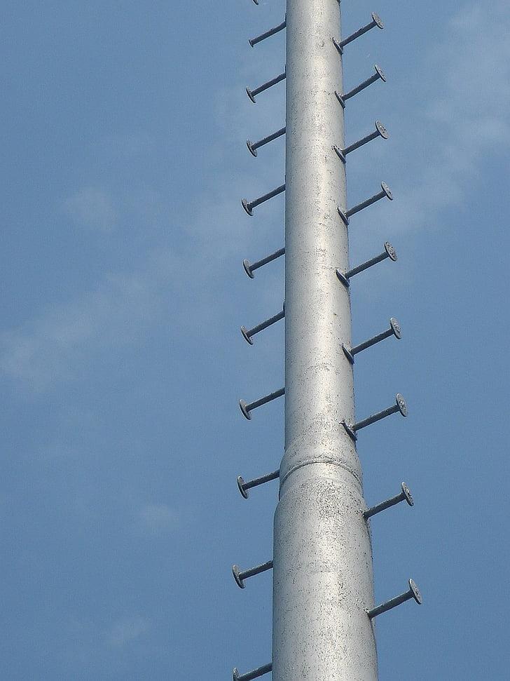 blauw, hemel, mast, hoogte, uitgang, vieren opwaarts