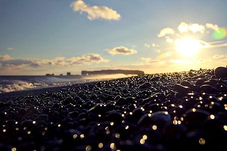 plage, aube, profondeur de champ, tombée de la nuit, océan, à l'extérieur, cailloux