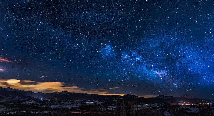Colorado, cel, núvols, posta de sol, capvespre, panoràmica, paisatge