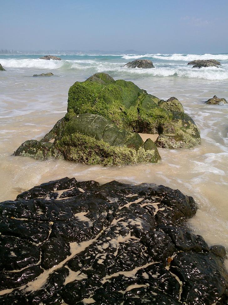 Kirra beach, rotsen, strand, Oceaan, Moss, kust, Australië