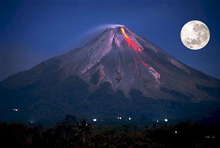 volcà, en erupció, Lluna plena, muntanya, Mt merapi, Indonèsia, erupció