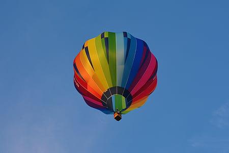 ballong, luftballong, blå, Sky, luft, färgglada, heta