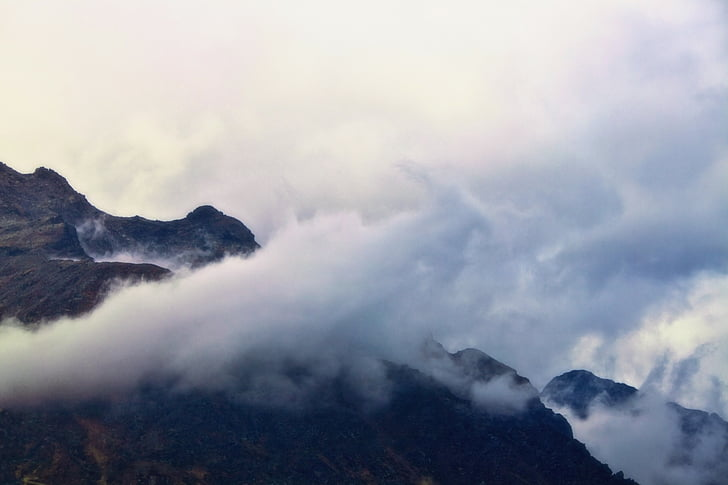 mountains, mountain world, fog, clouds, landscape, mountain