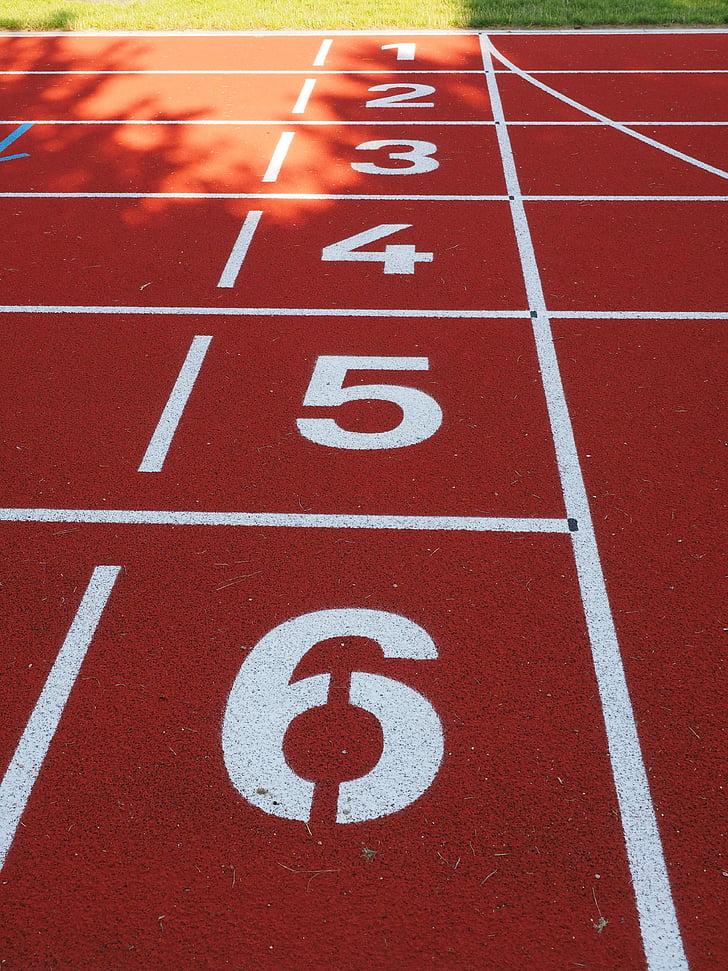 Entremès, carrera, Inici bloc, números, pista de tartan, pista, Atletisme