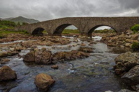sligachan, bridge, isle of skye, scotland, landscape, river, water