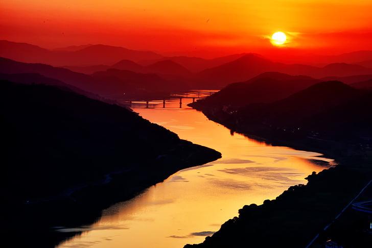floden, havet, ljus, Sky, röd, glöd, naturen