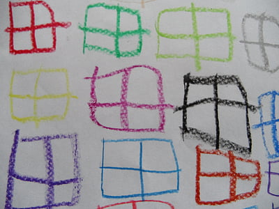 window, children drawing, pattern, many window, background, colorful, color