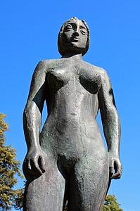 Figura, bronce, erótica, persona, mujer, mujer, Femenino
