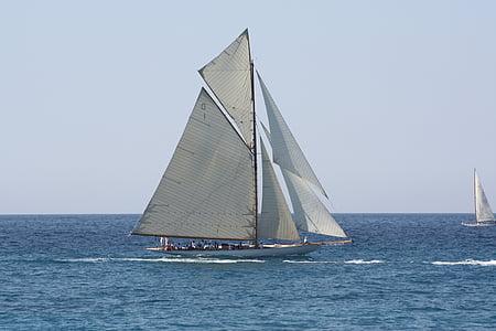 segelbåt, gammal rigg, Regatta, segling, havet, idrott, nautiska fartyg