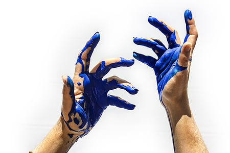 color, blue, painting, hands, human hand, human body part, human finger