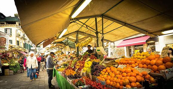 köögiviljade turu, puu turu, Veneetsia, Itaalia, puu, köögiviljad, turu