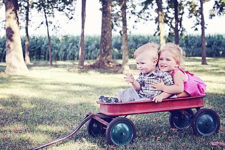 youth, children, wagon, child, childhood, people, kid