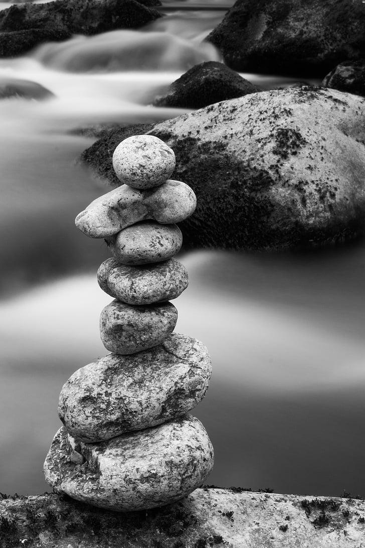 pedres, pila, blanc de negre, Zen, Roca, equilibri, natura