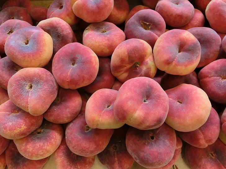 персики, рынок, фрукты, фрукты
