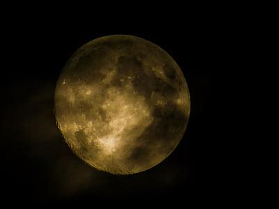 bulan purnama, malam, bulan, Selamat malam, Moonlight, suasana hati, emas