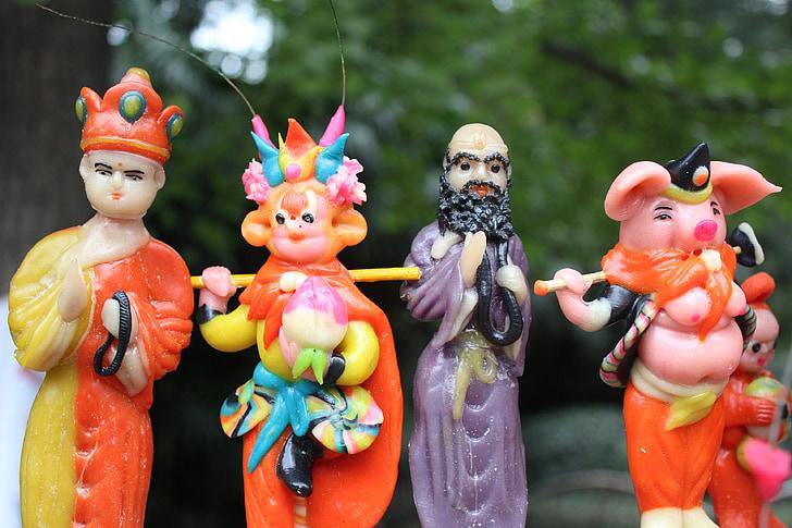viatge a l'oest, massa modelat figures, l'aprenentatge de, quatre persones, artesania tradicional