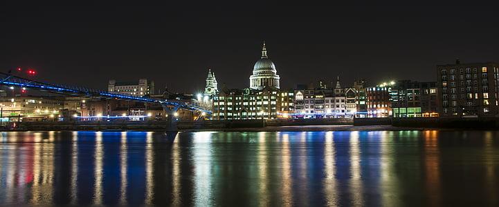 st pauls, night, city, architecture, landmark, travel, europe