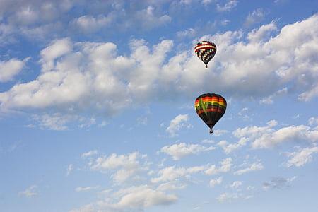 varmluftsballonger, Sky, ballong, färgglada, heta, luft, korg