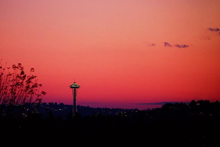 gris, núvols, vermell, posta de sol, fosc, Rosa, cel