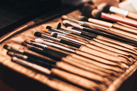 化妆, 笔刷, 事情, 模糊, 包, 美, 化妆品