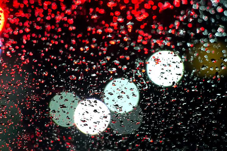 llum, no, aigües pluvials, reflexionar, flux, l'aigua, fosc