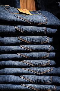 蓝色, 衣服, 服装, 牛仔裤, 裤子, 桩, 纺织